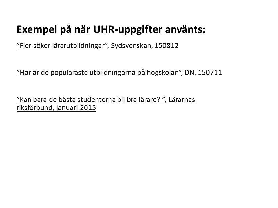"""Sv """"Fler söker lärarutbildningar"""", Sydsvenskan, 150812 """"Här är de populäraste utbildningarna på högskolan"""", DN, 150711 """"Kan bara de bästa studenterna"""