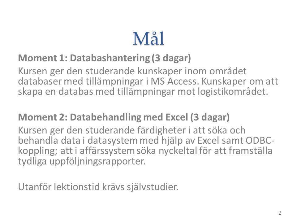 Mål 2 Moment 1: Databashantering (3 dagar) Kursen ger den studerande kunskaper inom området databaser med tillämpningar i MS Access. Kunskaper om att