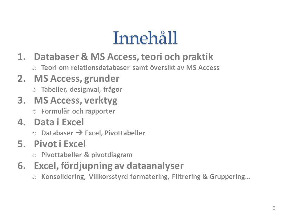 Innehåll 1.Databaser & MS Access, teori och praktik o Teori om relationsdatabaser samt översikt av MS Access 2.MS Access, grunder o Tabeller, designva