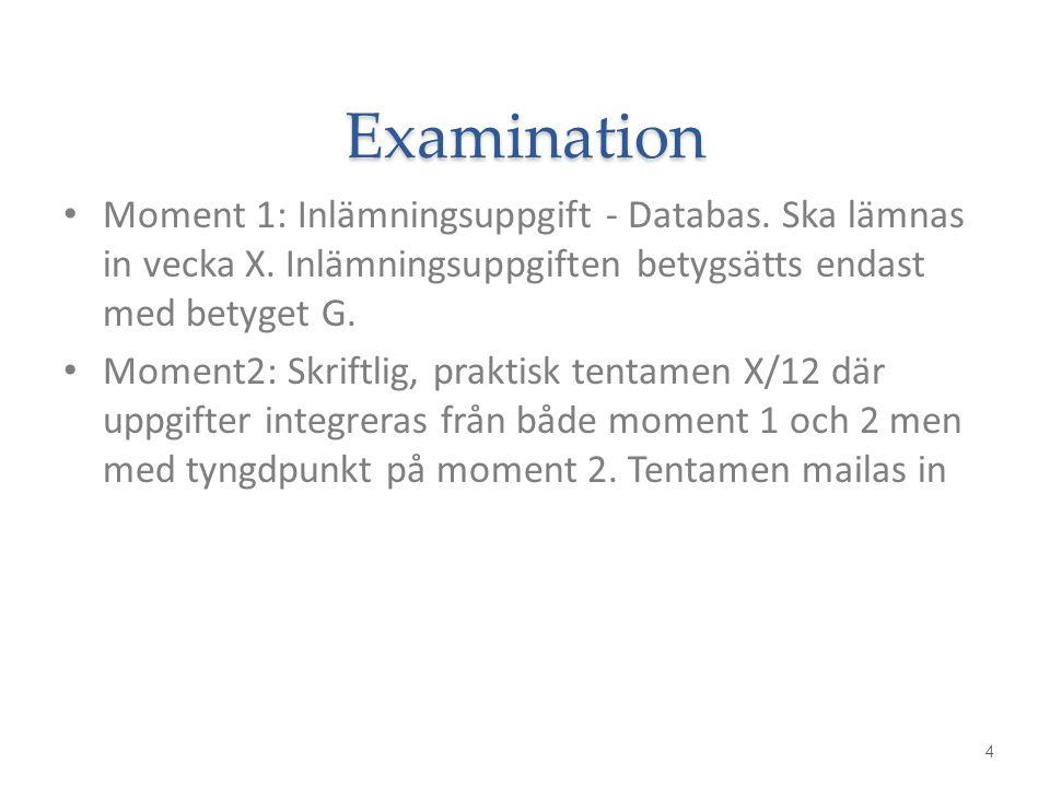 Examination Moment 1: Inlämningsuppgift - Databas. Ska lämnas in vecka X. Inlämningsuppgiften betygsätts endast med betyget G. Moment2: Skriftlig, pra