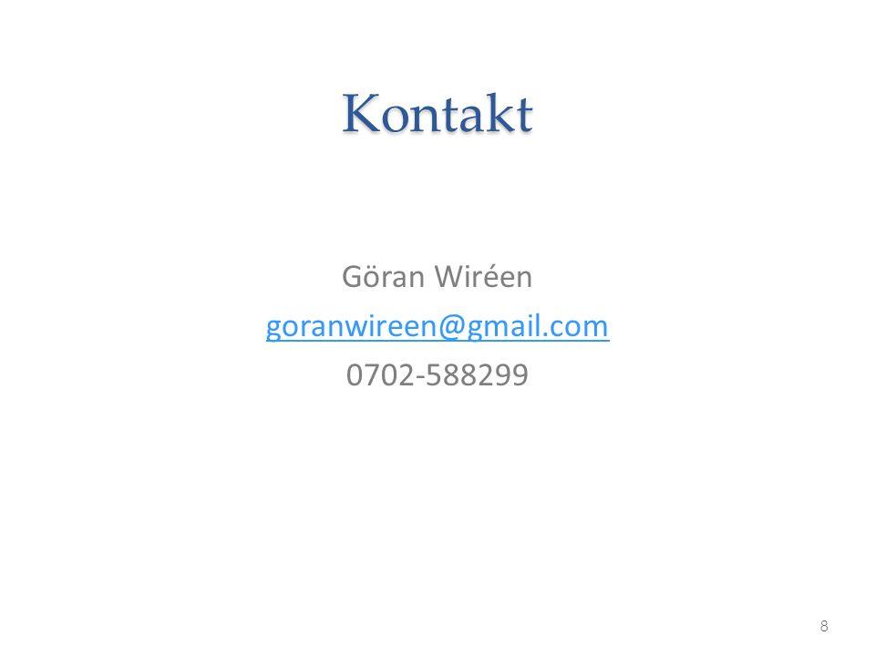 Kontakt Göran Wiréen goranwireen@gmail.com 0702-588299 8