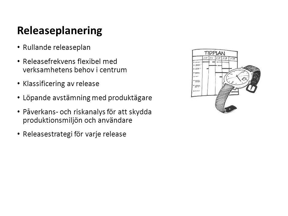Sv Rullande releaseplan Releasefrekvens flexibel med verksamhetens behov i centrum Klassificering av release Löpande avstämning med produktägare Påver