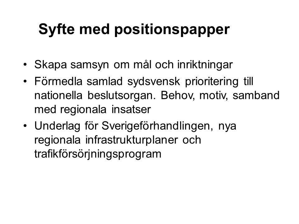 Syfte med positionspapper Skapa samsyn om mål och inriktningar Förmedla samlad sydsvensk prioritering till nationella beslutsorgan. Behov, motiv, samb