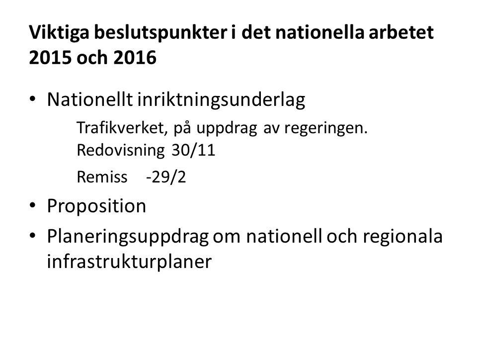 Viktiga beslutspunkter i det nationella arbetet 2015 och 2016 Nationellt inriktningsunderlag Trafikverket, på uppdrag av regeringen. Redovisning 30/11