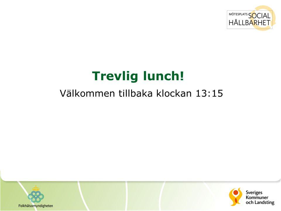 Trevlig lunch! Välkommen tillbaka klockan 13:15