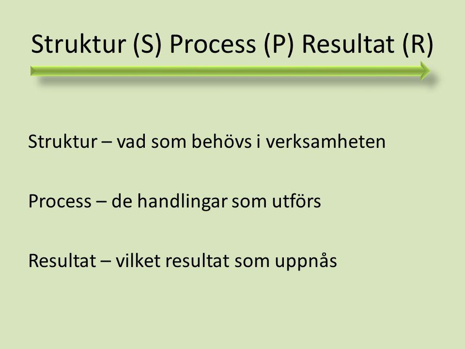 Struktur (S) Process (P) Resultat (R) Struktur – vad som behövs i verksamheten Process – de handlingar som utförs Resultat – vilket resultat som uppnå