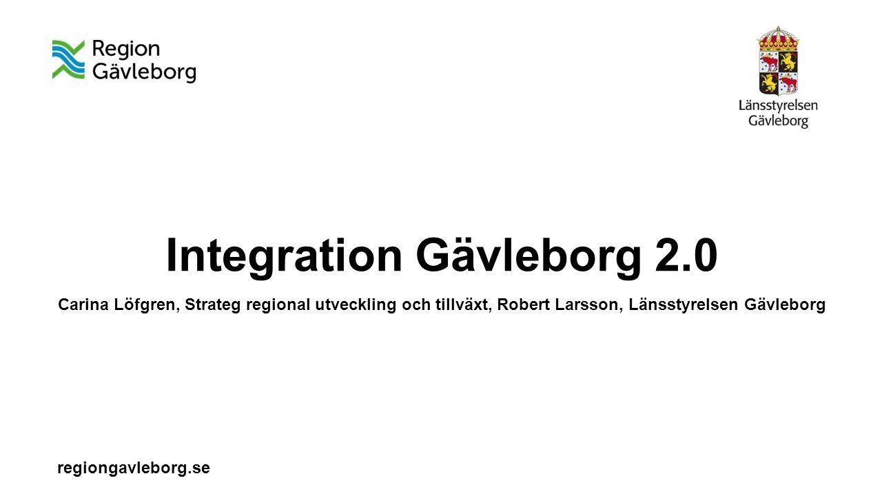 regiongavleborg.se Integration Gävleborg 2.0 Carina Löfgren, Strateg regional utveckling och tillväxt, Robert Larsson, Länsstyrelsen Gävleborg