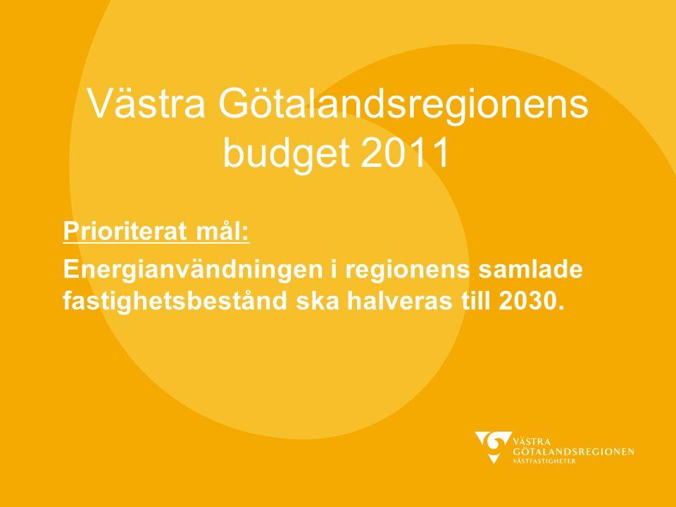 Västra Götalandsregionens budget 2011 Prioriterat mål: Energianvändningen i regionens samlade fastighetsbestånd ska halveras till 2030.