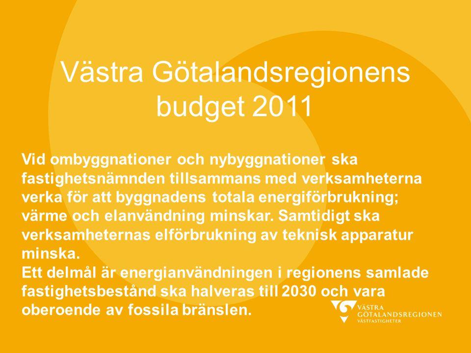 Västra Götalandsregionens budget 2011 Vid ombyggnationer och nybyggnationer ska fastighetsnämnden tillsammans med verksamheterna verka för att byggnadens totala energiförbrukning; värme och elanvändning minskar.