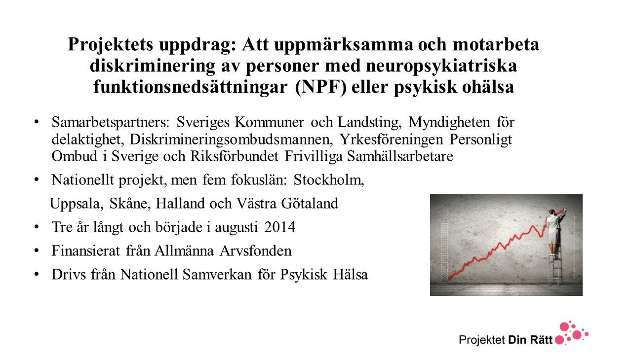 Projektets uppdrag: Att uppmärksamma och motarbeta diskriminering av personer med neuropsykiatriska funktionsnedsättningar (NPF) eller psykisk ohälsa