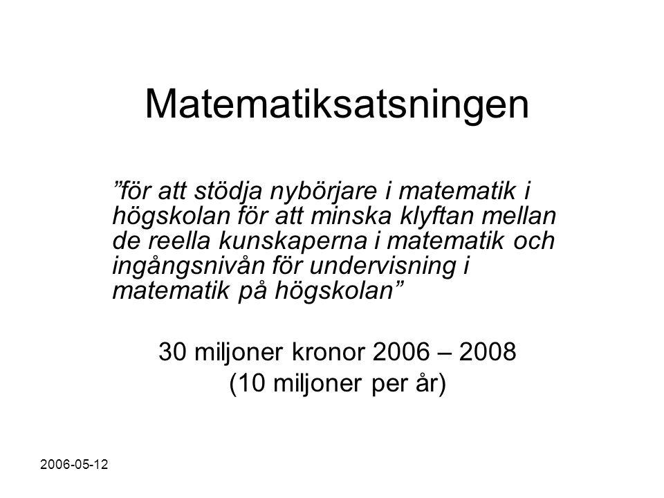 2006-05-12 Matematiksatsningen för att stödja nybörjare i matematik i högskolan för att minska klyftan mellan de reella kunskaperna i matematik och ingångsnivån för undervisning i matematik på högskolan 30 miljoner kronor 2006 – 2008 (10 miljoner per år)