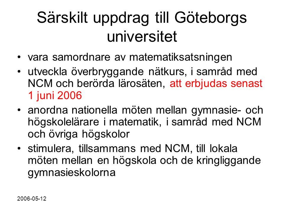2006-05-12 Särskilt uppdrag till Göteborgs universitet vara samordnare av matematiksatsningen utveckla överbryggande nätkurs, i samråd med NCM och berörda lärosäten, att erbjudas senast 1 juni 2006 anordna nationella möten mellan gymnasie- och högskolelärare i matematik, i samråd med NCM och övriga högskolor stimulera, tillsammans med NCM, till lokala möten mellan en högskola och de kringliggande gymnasieskolorna