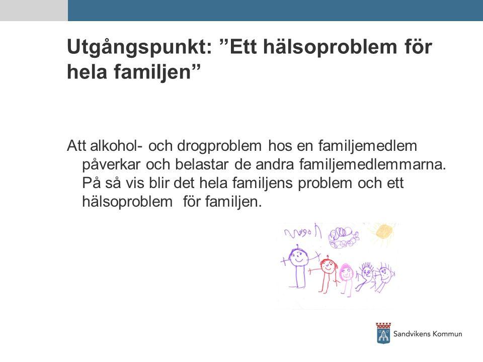 """Utgångspunkt: """"Ett hälsoproblem för hela familjen"""" Att alkohol- och drogproblem hos en familjemedlem påverkar och belastar de andra familjemedlemmarna"""