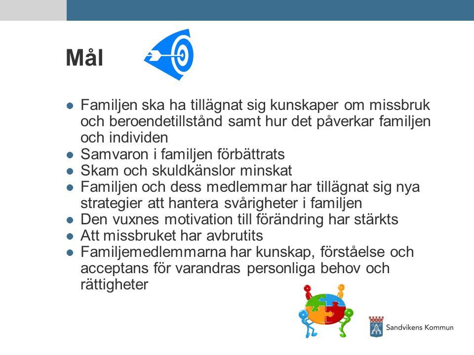 Mål Familjen ska ha tillägnat sig kunskaper om missbruk och beroendetillstånd samt hur det påverkar familjen och individen Samvaron i familjen förbätt