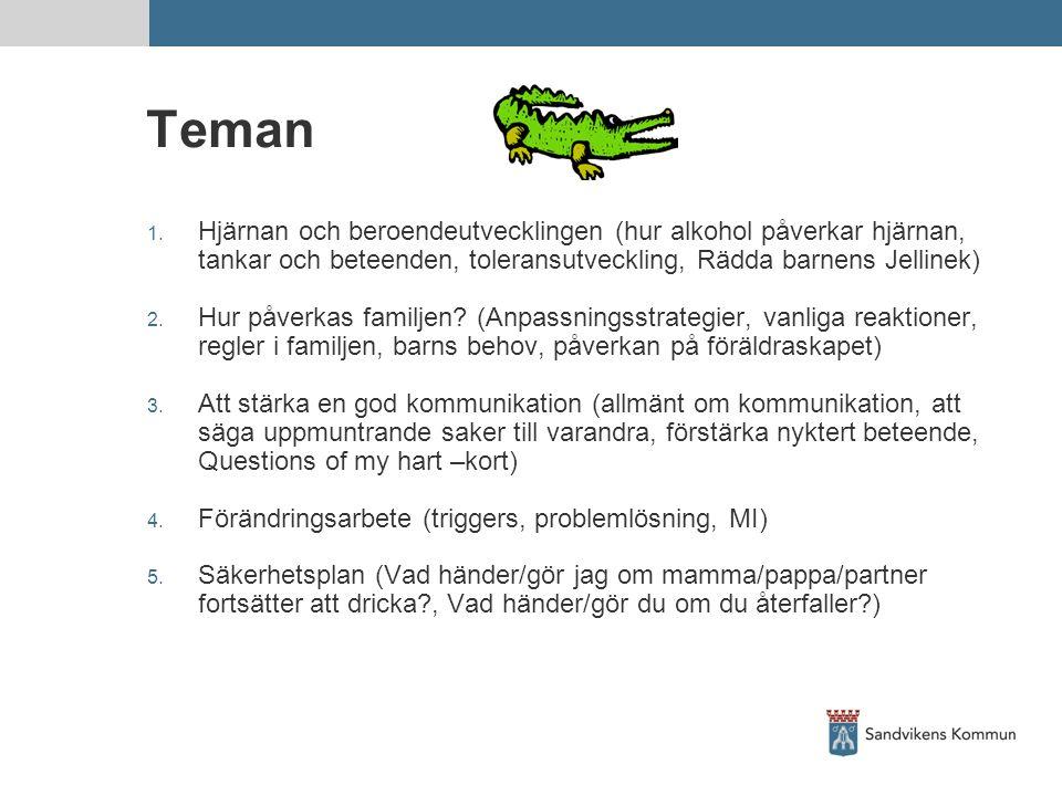Teman 1. Hjärnan och beroendeutvecklingen (hur alkohol påverkar hjärnan, tankar och beteenden, toleransutveckling, Rädda barnens Jellinek) 2. Hur påve