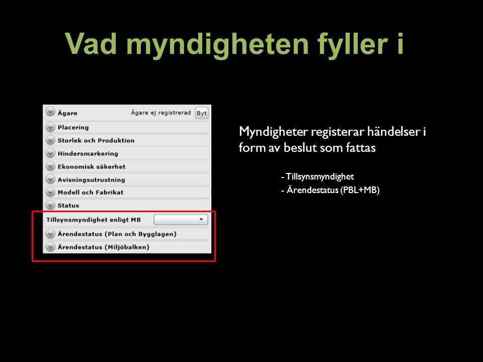 Vad myndigheten fyller i Myndigheter registerar händelser i form av beslut som fattas - Tillsynsmyndighet - Ärendestatus (PBL+MB)