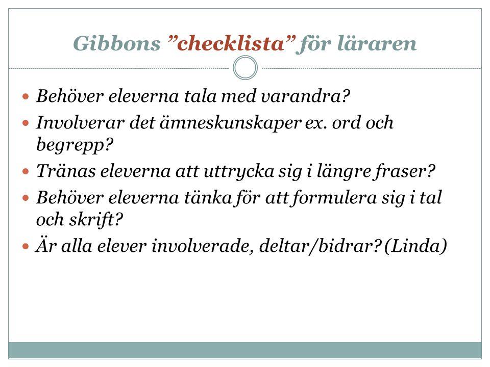 Gibbons checklista för läraren Behöver eleverna tala med varandra.