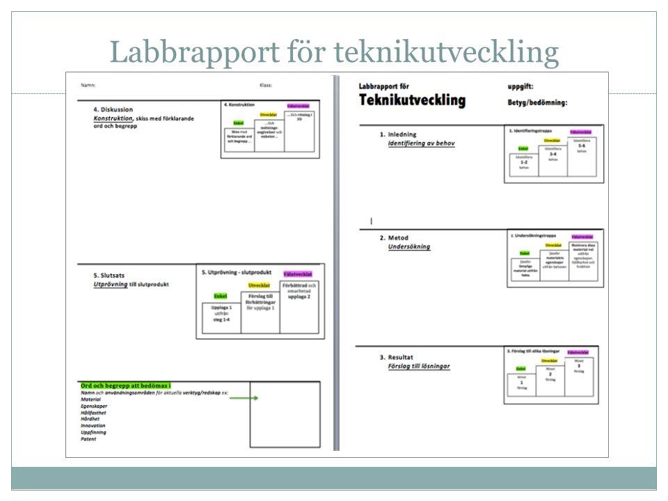 Labbrapport för teknikutveckling