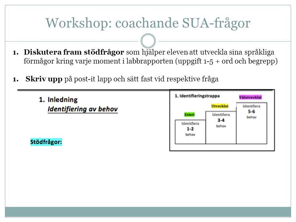 Workshop: coachande SUA-frågor 1.Diskutera fram stödfrågor som hjälper eleven att utveckla sina språkliga förmågor kring varje moment i labbrapporten (uppgift 1-5 + ord och begrepp) 1.