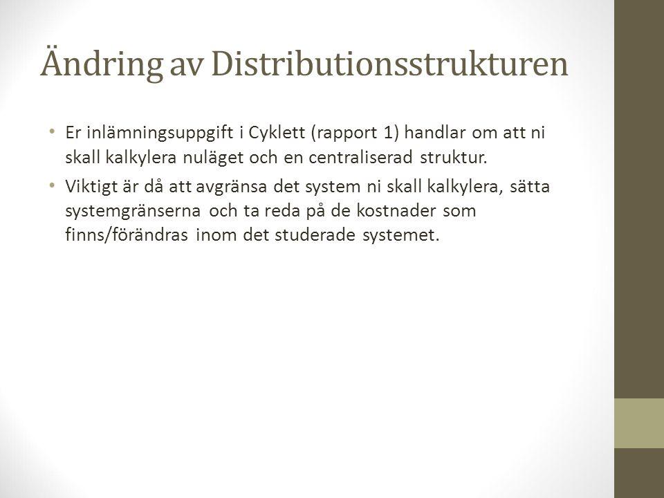 Ändring av Distributionsstrukturen Er inlämningsuppgift i Cyklett (rapport 1) handlar om att ni skall kalkylera nuläget och en centraliserad struktur.