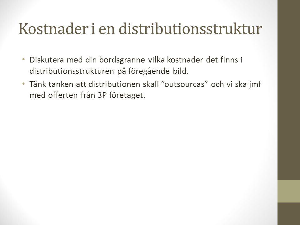 Kostnader i en distributionsstruktur Diskutera med din bordsgranne vilka kostnader det finns i distributionsstrukturen på föregående bild. Tänk tanken
