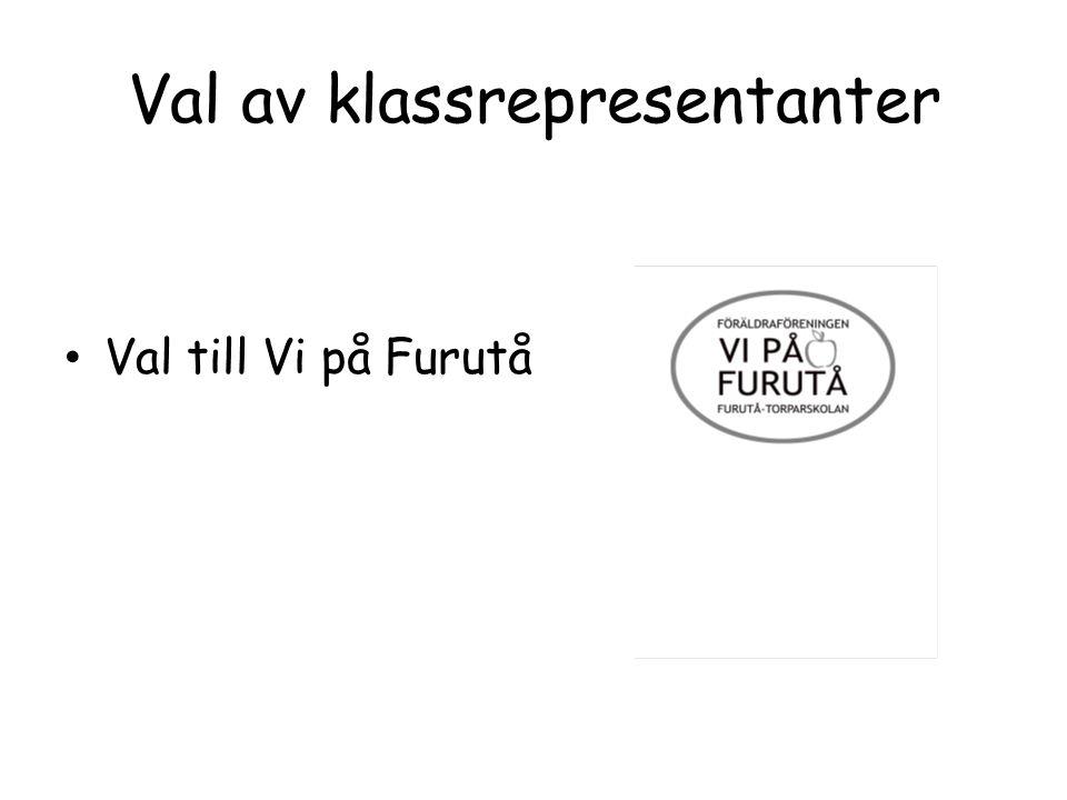 Val av klassrepresentanter Val till Vi på Furutå