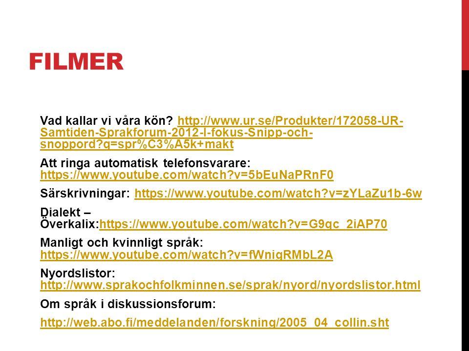 FILMER Vad kallar vi våra kön? http://www.ur.se/Produkter/172058-UR- Samtiden-Sprakforum-2012-I-fokus-Snipp-och- snoppord?q=spr%C3%A5k+makthttp://www.
