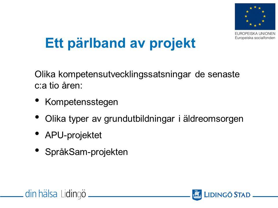 Ett pärlband av projekt Olika kompetensutvecklingssatsningar de senaste c:a tio åren: Kompetensstegen Olika typer av grundutbildningar i äldreomsorgen APU-projektet SpråkSam-projekten