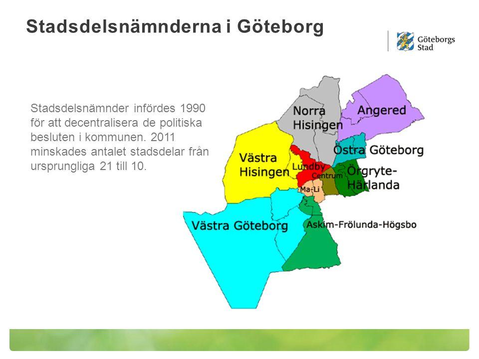 Stadsdelsnämnderna i Göteborg Stadsdelsnämnder infördes 1990 för att decentralisera de politiska besluten i kommunen. 2011 minskades antalet stadsdela