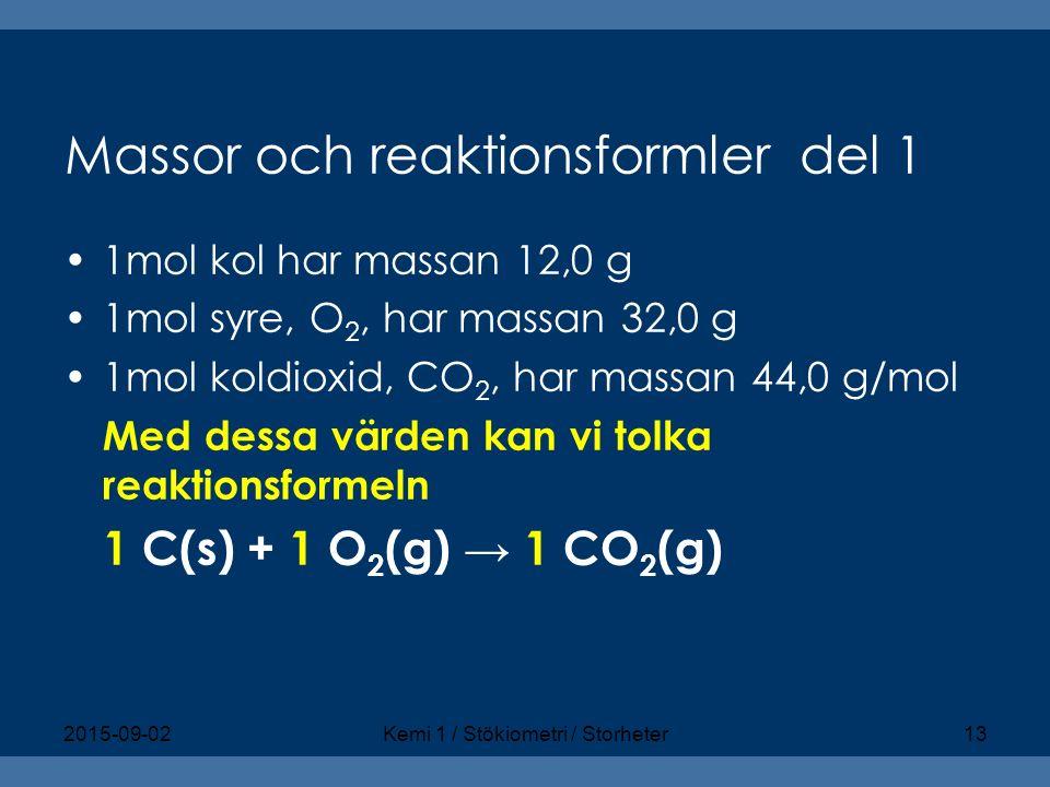 Massor och reaktionsformlerdel 1 1mol kol har massan 12,0 g 1mol syre, O 2, har massan 32,0 g 1mol koldioxid, CO 2, har massan 44,0 g/mol Med dessa vä