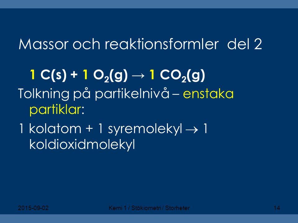 Massor och reaktionsformler del 2 1 C(s) + 1 O 2 (g) → 1 CO 2 (g) Tolkning på partikelnivå – enstaka partiklar: 1 kolatom + 1 syremolekyl  1 koldioxi
