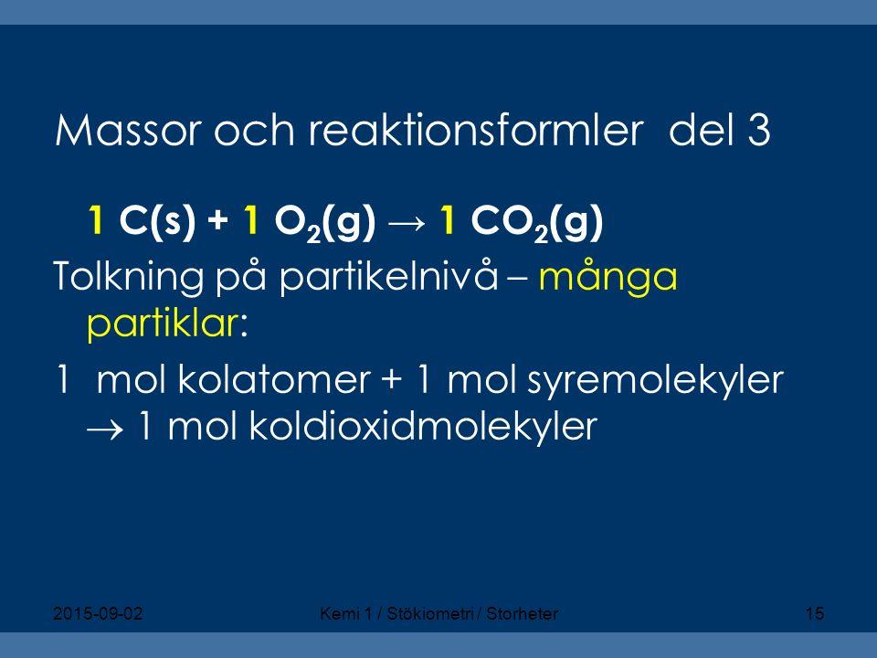Massor och reaktionsformler del 3 1 C(s) + 1 O 2 (g) → 1 CO 2 (g) Tolkning på partikelnivå – många partiklar: 1 mol kolatomer + 1 mol syremolekyler 