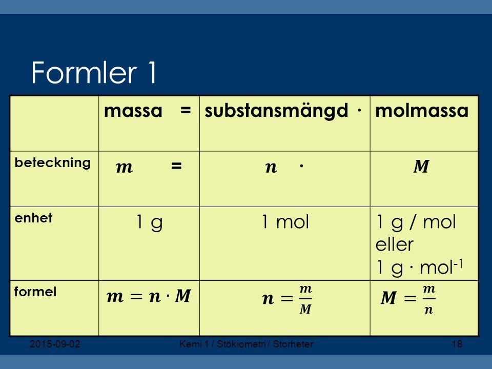 Formler 1 massa =substansmängd ∙molmassa beteckning enhet 1 g1 mol1 g / mol eller 1 g ∙ mol -1 formel 2015-09-02Kemi 1 / Stökiometri / Storheter18