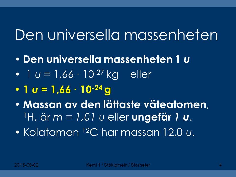 Den universella massenheten Den universella massenheten 1 u 1 u = 1,66 ∙ 10 -27 kg eller 1 u = 1,66 ∙ 10 -24 g Massan av den lättaste väteatomen, 1 H,