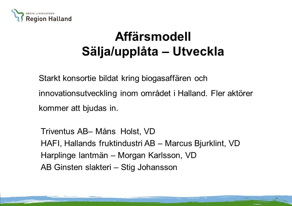 Affärsmodell Sälja/upplåta – Utveckla Starkt konsortie bildat kring biogasaffären och innovationsutveckling inom området i Halland. Fler aktörer komme