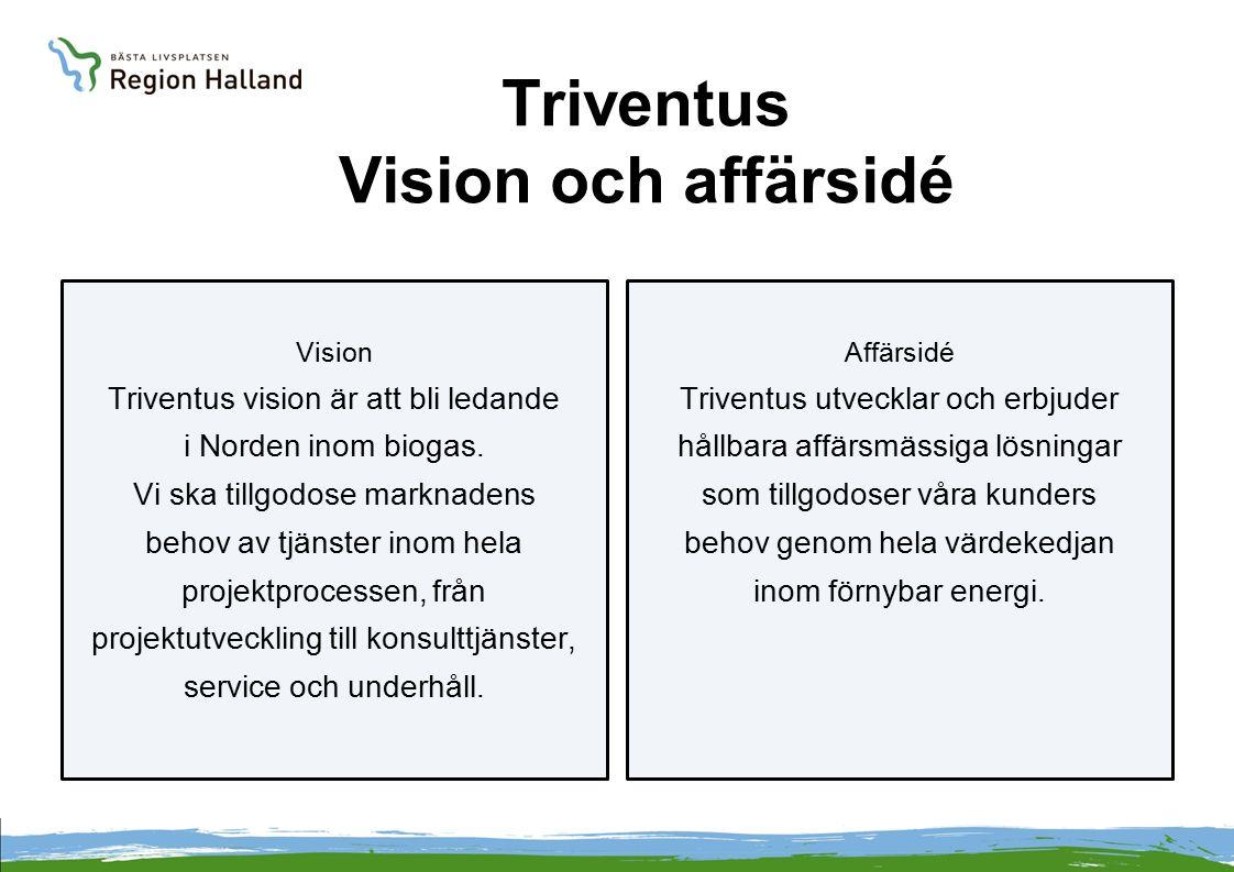 Triventus Vision och affärsidé Vision Triventus vision är att bli ledande i Norden inom biogas. Vi ska tillgodose marknadens behov av tjänster inom he