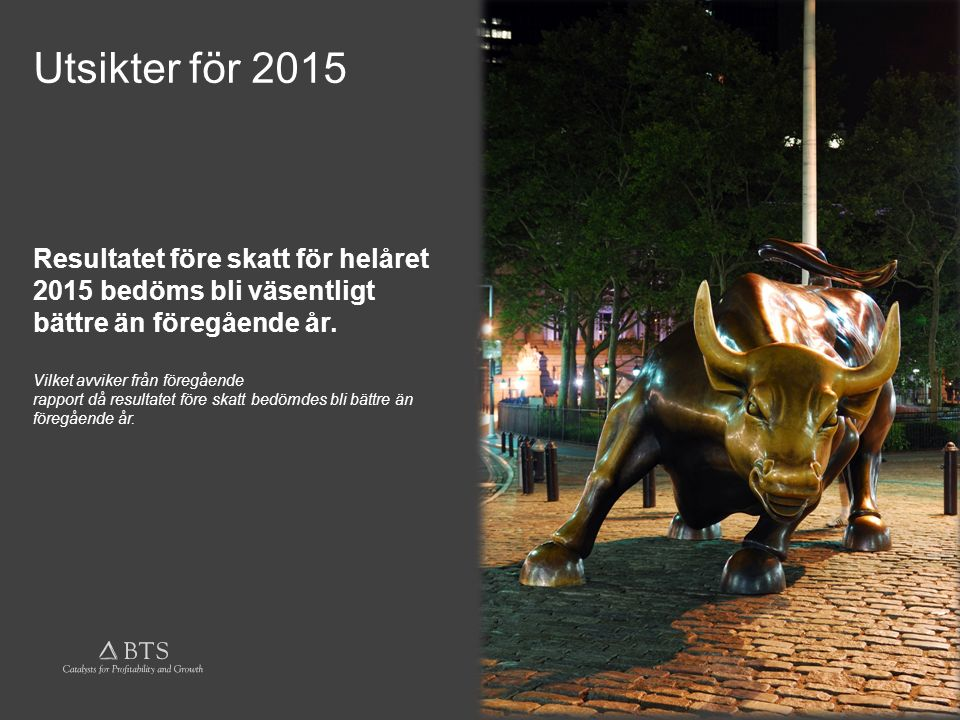 © BTS Group AB (publ.) 2015 Utsikter för 2015 Resultatet före skatt för helåret 2015 bedöms bli väsentligt bättre än föregående år.