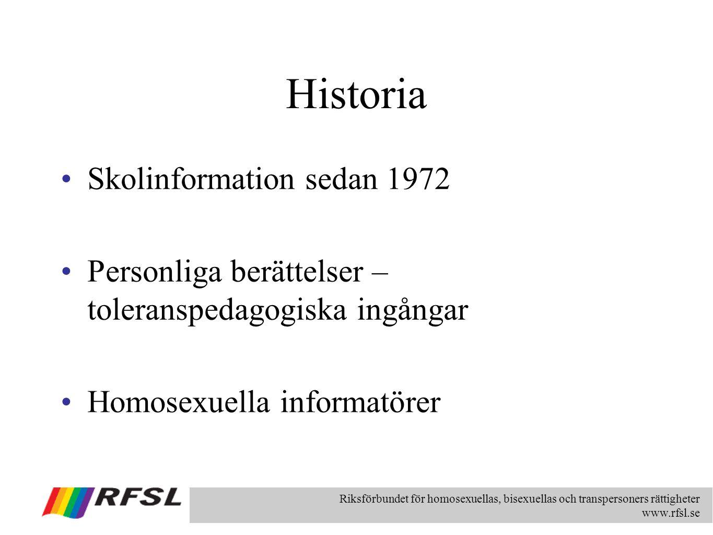 Riksförbundet för homosexuellas, bisexuellas och transpersoners rättigheter www.rfsl.se Historia Skolinformation sedan 1972 Personliga berättelser – t