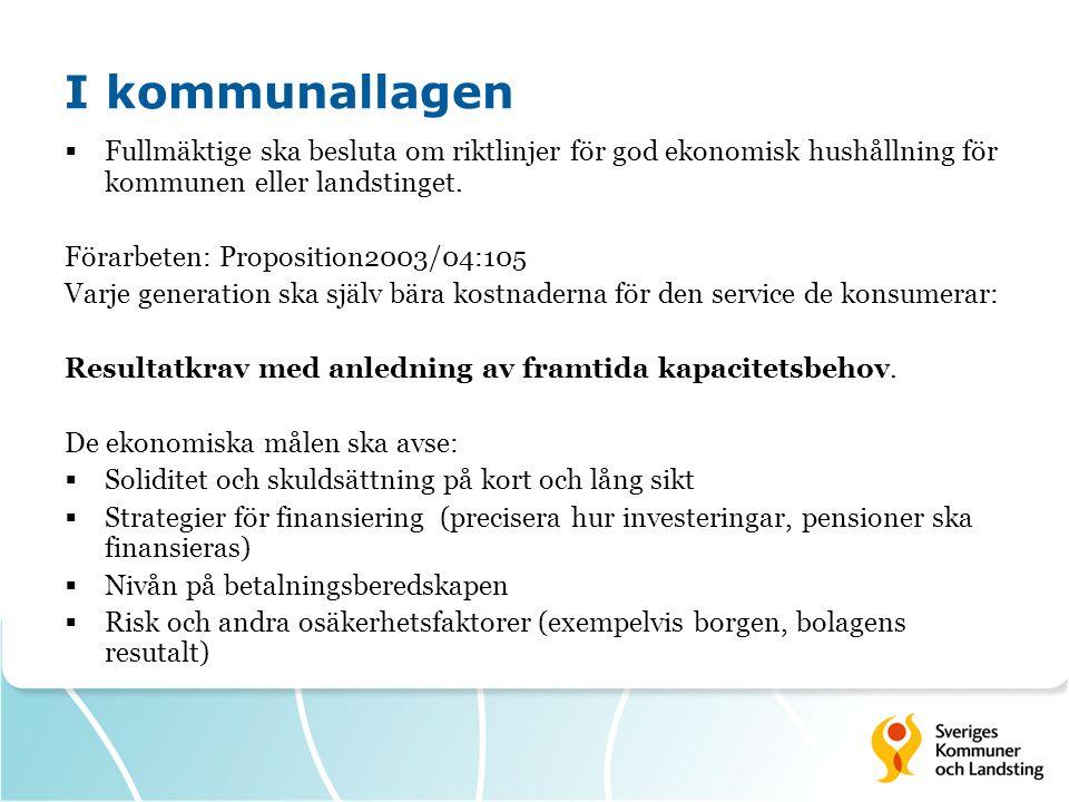 I kommunallagen  Fullmäktige ska besluta om riktlinjer för god ekonomisk hushållning för kommunen eller landstinget. Förarbeten: Proposition2003/04:1