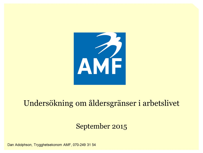 Undersökning om åldersgränser i arbetslivet September 2015 Dan Adolphson, Trygghetsekonom AMF, 070-249 31 54