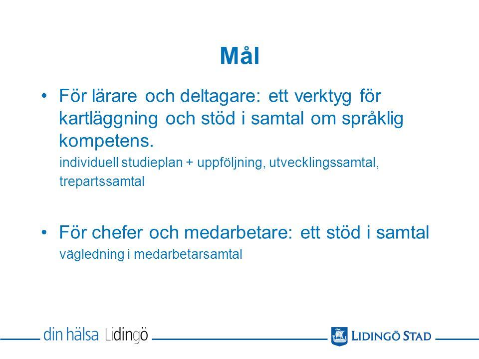 Mål För lärare och deltagare: ett verktyg för kartläggning och stöd i samtal om språklig kompetens.