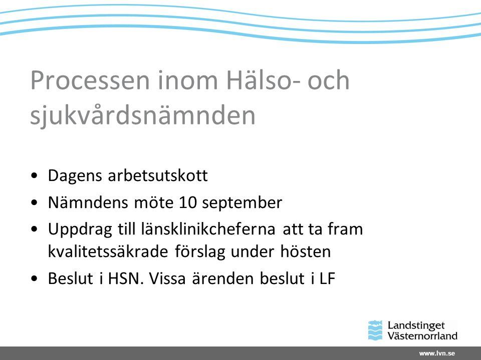 www.lvn.se Processen inom Hälso- och sjukvårdsnämnden Dagens arbetsutskott Nämndens möte 10 september Uppdrag till länsklinikcheferna att ta fram kvalitetssäkrade förslag under hösten Beslut i HSN.