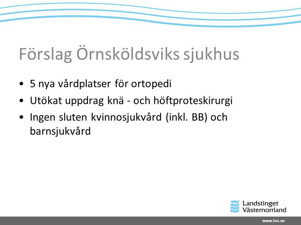 www.lvn.se Förslag Örnsköldsviks sjukhus 5 nya vårdplatser för ortopedi Utökat uppdrag knä - och höftproteskirurgi Ingen sluten kvinnosjukvård (inkl.