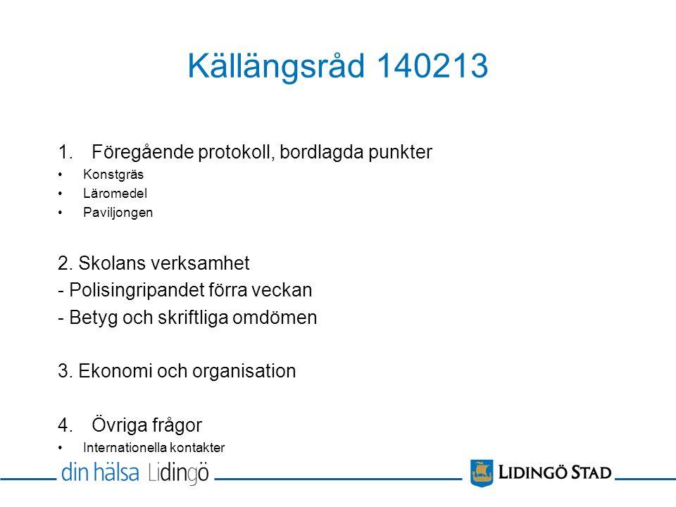 Källängsråd 140213 1.Föregående protokoll, bordlagda punkter Konstgräs Läromedel Paviljongen 2.