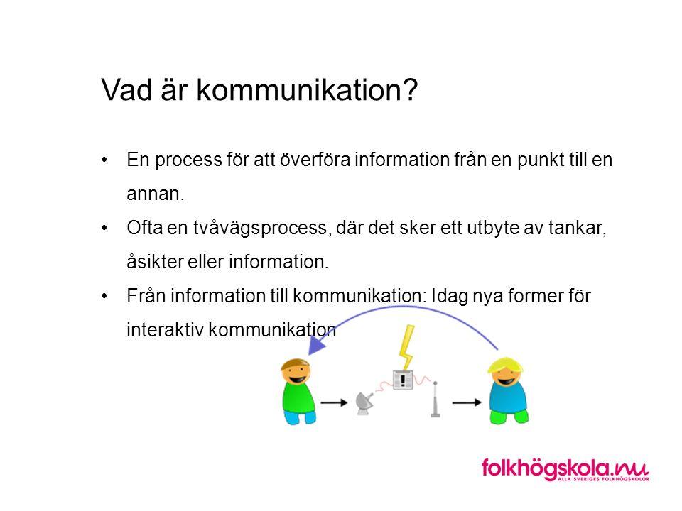 Vad är kommunikation? En process för att överföra information från en punkt till en annan. Ofta en tvåvägsprocess, där det sker ett utbyte av tankar,