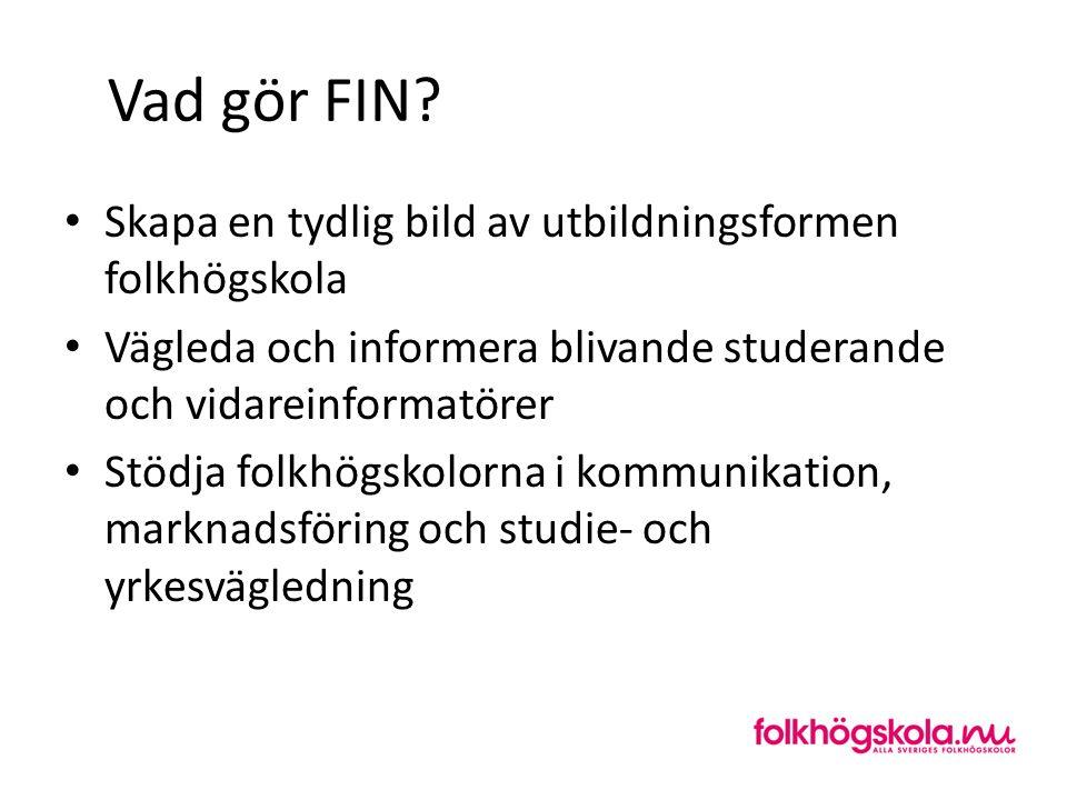 Vad gör FIN? Skapa en tydlig bild av utbildningsformen folkhögskola Vägleda och informera blivande studerande och vidareinformatörer Stödja folkhögsko