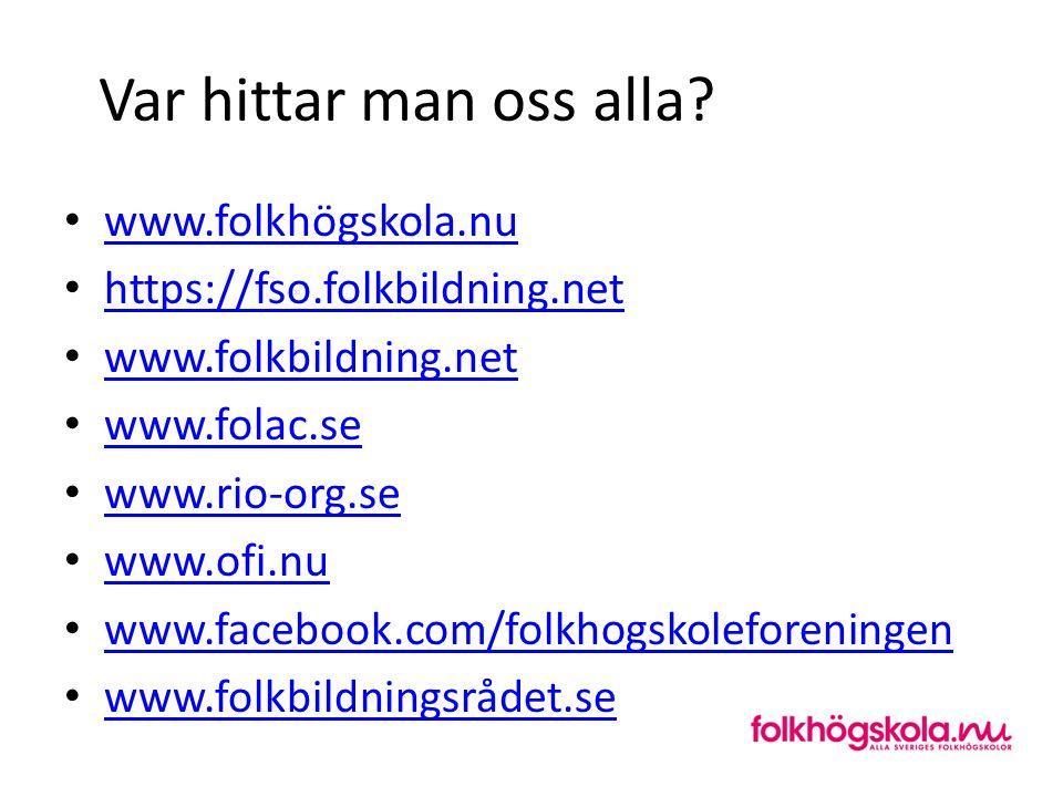 Var hittar man oss alla? www.folkhögskola.nu https://fso.folkbildning.net www.folkbildning.net www.folac.se www.rio-org.se www.ofi.nu www.facebook.com