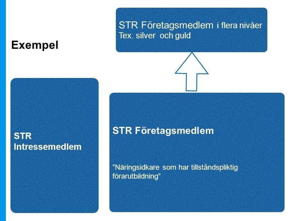 STR Intressemedlem STR Företagsmedlem Näringsidkare som har tillståndspliktig förarutbildning STR Företagsmedlem i flera nivåer Tex.