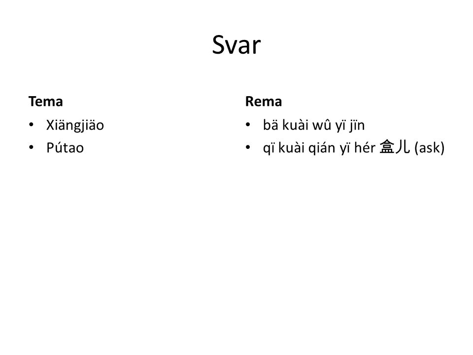 Svar Tema Xiängjiäo Pútao Rema bä kuài wû yï jïn qï kuài qián yï hér 盒儿 (ask)