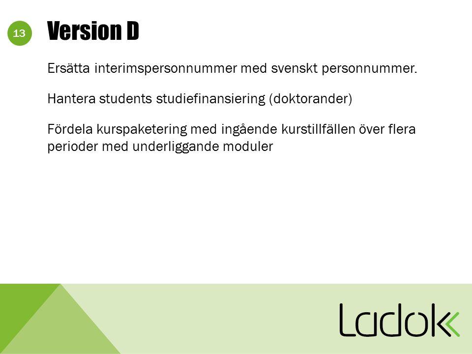 13 Version D Ersätta interimspersonnummer med svenskt personnummer. Hantera students studiefinansiering (doktorander) Fördela kurspaketering med ingåe